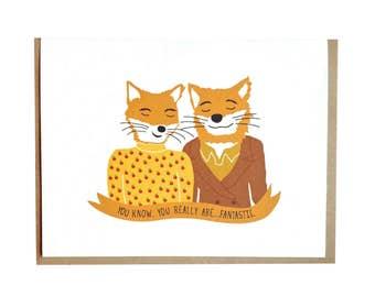 Fantastic Mr Fox, Wes Anderson card, Anniversay, Birthday, Love, greeting card