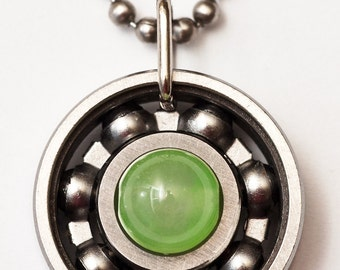 Peridot Roller Derby Skate Bearing Pendant Necklace