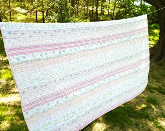 Vintage Cottage Quilted Twin Blanket / Shabby Bedding / Ruffles / Bed Cover / Girls Bedding / Twin Quilt / Pink & Blue Flowers / Weighted