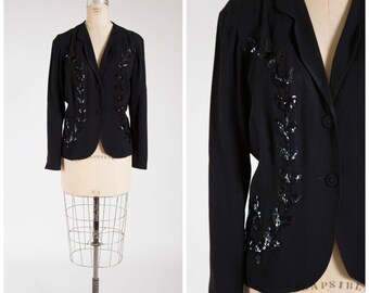 Vintage 1940s Jacket • Inky Dusk  • Black Rayon 40s Jacket with Sequins Size Large