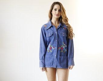 Vintage 70s Embroidered Floral Denim Western Shirt Jacket - B2