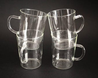 Vintage Clear Glass mugs, German Schott Mainz, Jenaer glass, glass mugs