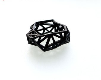 3D printed geometric ring - Triangulated Ring in Black. triangle jewelry. modern statement jewelry
