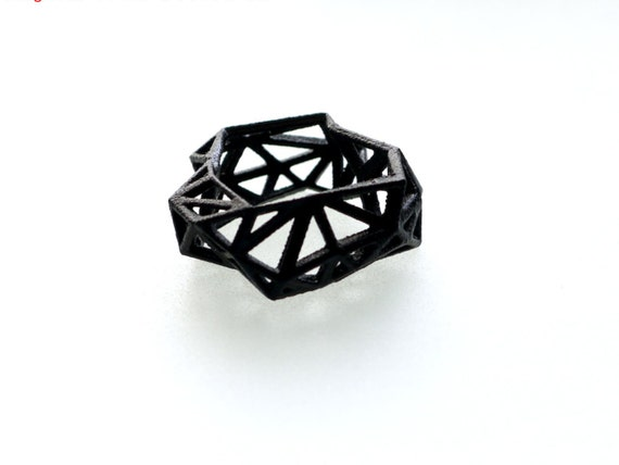 3D printed geometric ring - Triangulated Ring in Black. triangle jewelry. modern statement jewelry