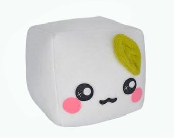Tofu plush toy pillow cushion plushie food pretend play kawaii cute vegetarian fluffy cloudy