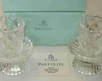 PARTYLITE Pair of Quilted Design Crystal CANDLE HOLDERS - Four (4) Piece Convertible Set with Original Box - Unique!