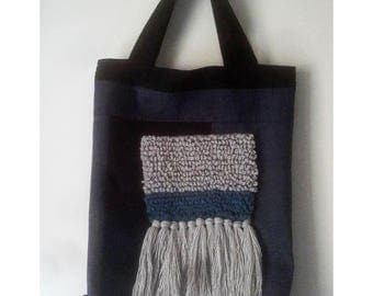 Denim, canvas, tote and backpack, fiber art