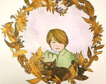 Custom Portrait, Illustrated Portrait, Child, Pet, 24 Karat Gold Paint
