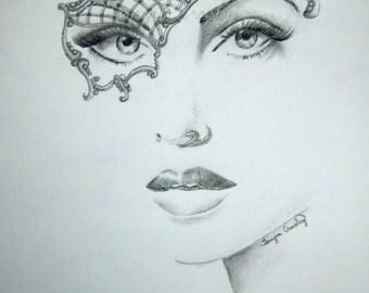 Original Drawing Pencil, Masquerade Ball  Sketch, image, woman, lady, mask, art, face, portrait, graphite, female, #17/TA