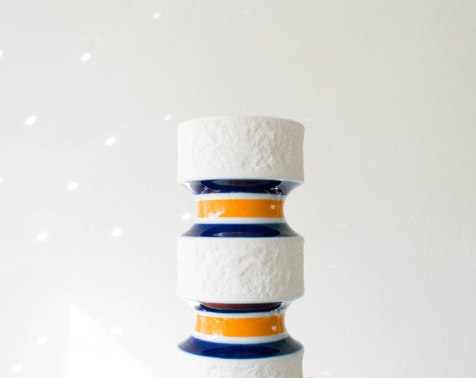 Mid Century Indigo and Orange Porcelain Vase // Royal Porzellan Bavaria KPM // Modern Matte White