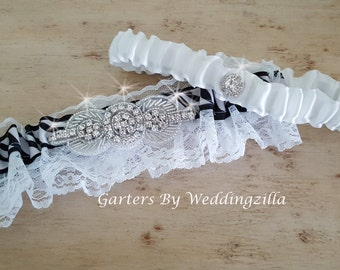 Black and White Wedding Garter,  Bridal Garter, Lace Garter, Black White Garter, Wedding Garter Belt , Crystal Garter, Animal Print Garter