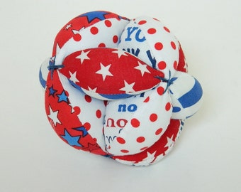 Montessori Toy Ball - Clutch Grab Ball - Soft Toy - Baby Shower Gift - Red White Blue Patriotic Toy - Baby Toys and Gifts - Sectioned Ball