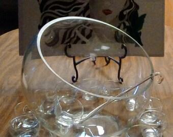 Vintage Art Deco, MCM, ULTRA RARE Riekes Crisa Hollywood - Tilted Punch Bowl Set, Hand Blown Glass, Spouted Glass Ladle, Glassware, Barware