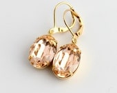 Swarovski peach earrings, oval earring, light peach earrings, peach wedding, peach prom earrings, Swarovski earrings,  oval earrings, gold 1