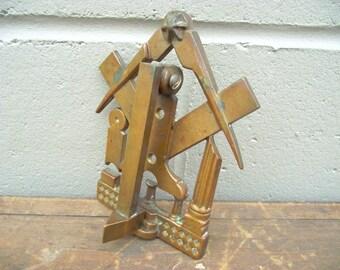 Antique Brass Masonic Door Knocker Secret Society Grand Lodge Freemasons - Gavel Compass Square Columns Pillar Stone Hammer - Solid Brass