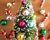 Retro Mini Flocked Bottle Brush Christmas Tree w/ Shiny Bulbs-Holiday Sisal Pine-Putz Houses-Retro Snowglobes-Terrarium-Winter Craft-Village