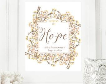 "Instant 8x10 ""Hope - Hebrews 11:1"" Golden Floral Digital Wall Art Print | Modern Christian Art | Scripture Print | Word of the Year"