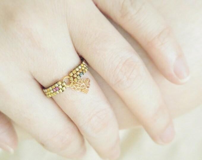Tassel Ring, Bohemian Ring, Boho Chic Ring, Beaded Gold Ring, Dainty Ring