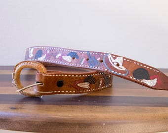 60s 70s Hand Painted Mexico souvenir fighting cocks leather belt