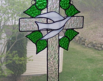 Stained Glass Cross - 10 in. tall - Dove