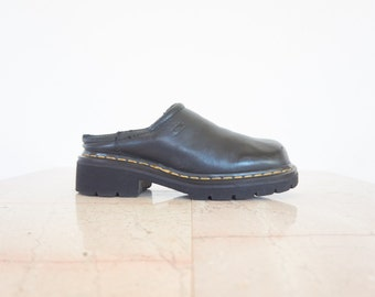 90s Dr. Martens Chunky Black Leather Mules / Women's Shoes Size 9 US - 7 UK - 39/40 Eur