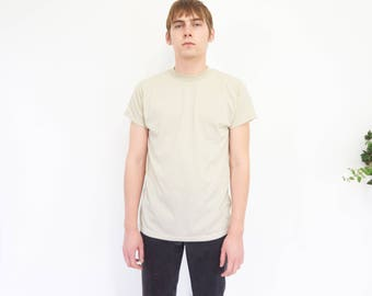 Vtg Fitted Ecru Military Field Tee