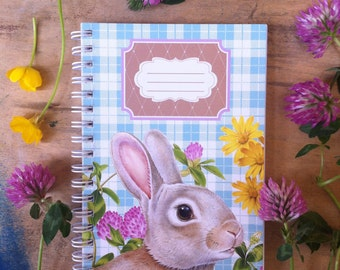 Cute Bunny spiral notebook - Wirebound notebook - Rabbit illustration by Fiammetta Dogi - Stationery - made in Italy