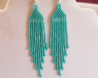 Native American Style Seed Bead Earrings, Turquoise  4 inch Brick Stitch Gypsy, Boho, Southwestern, Tribal, Peyote, Hippie Ready to Ship