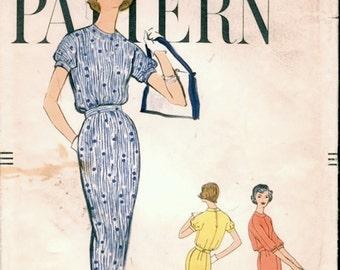 Chic Vintage 1950s Vogue 9451 Slim Blouson Sheath Dress Sewing Pattern B32