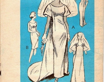 Fantastic Vintage 1960s Prominent Designer A901 Miss Betsy Bridal Wedding or Bridesmaid Dress with Train Sewing Pattern B32