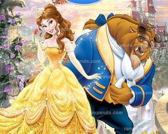 Belle Thank You Card, Beauty and The Beast Thank You Note, Belle Party