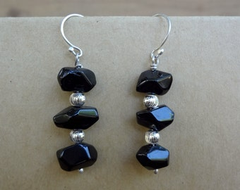 Black spinel gemstone and sterling silver earrings. Cute little everyday earrings. Dangle drop earrings for women teens and girls.