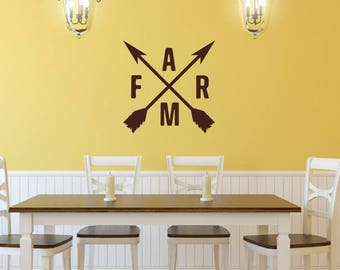 Farm Crossed Arrow Decal, Vinyl Wall Decal 22602, Crossed Arrows, Farmhouse Decor, Rustic Decal, Farmhouse Decal, Kitchen Wall Decor