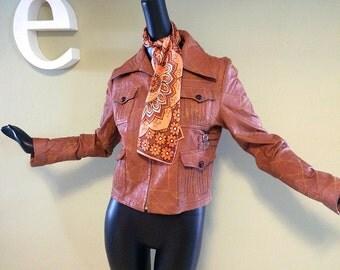 Vintage 70s Leather Jacket Hippie Boho 1970s Groovy Hippy Patchwork Stoner Jacket Fancy Flap Pockets Women's Small to Medium