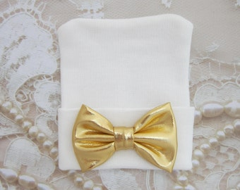 White Newborn Hospital Hat with a Gold  Fabric Bow, take home outfit, baby hat, infant, baby bow hat, photo, Lil Miss Sweet Pea Boutique