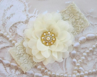 Ivory 4 inch petal flower with a vintage AB rhinestone center on two inch stretch lace or a clip, bebe, foto, Lil Miss Sweet Pea