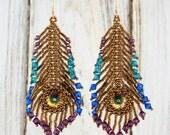 Crystal Peacock Feather Earrings Peacock Eye Colorway Amethyst Purple Teal Green Capri Blue Beadweaving