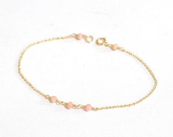 Tiny Pink Opal gold bracelet, Delicate gold bracelet, Pink Opal bracelet, Minimalist, October Birthstone Jewelry, Pastel Pink stone jewelry