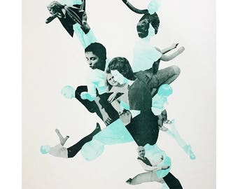 Photomontage Risograph Print, 2 Colour, Limited Edition. Collage Cut-Out Poster Art, People Montage, Green Mint Aqua. 11x17