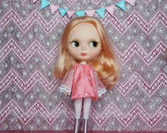 Spring Formal Collection - Neo Blythe mod A-line mini-dress in peachy-pink-and-white