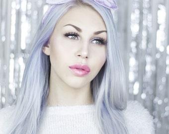 Pastel Lilac Crushed velvet vintage wire headband