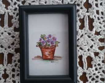 Watercolor Art Framed Pansy in a Pot Home Decor Wall Art Framed Original Hand painted vintage Frame