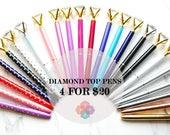 Set of 4 DIAMOND TOP Pen, Rose Gold Sparkle swarovski like pen Wedding Planner School Office Supplies Sparkle Crystal Gem Pen
