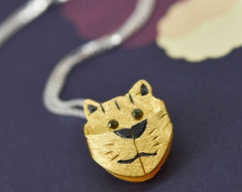 Tiger Pendant, Tiger Necklace, Tiger Jewelry, Tiger Charm, 925 Sterling Silver, Bridesmaid Gift, Best Friend Gift, Gift for her