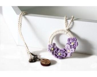 Crochet Necklace - Crochet Jewelry - Necklace - Vegan Necklace - Pendant Necklace - Statement Necklace - Circle Necklace - Flower Necklace