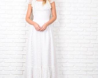 Vintage 70s White Boho Dress Victorian Wedding Hippie Floral Lace XS 8690