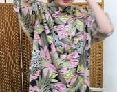 1980s Tropical Print Overzized Shirt Size XL