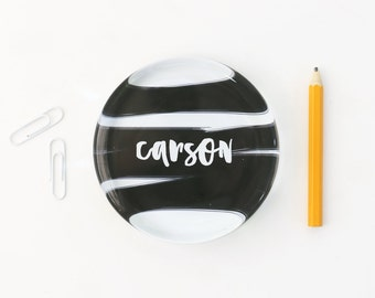 Personalized Glass Paperweight Black and White Office Supplies Girls Desk Accessories Custom Paper Weight Teacher Gifts New Job Gift