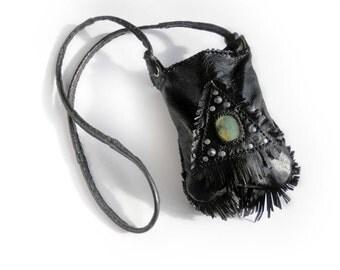 MIDNIGHT  WHISPER⎜Black leather crossbody bag with gemstone⎜Boho hippie bag⎜Festival bag⎜Custom made
