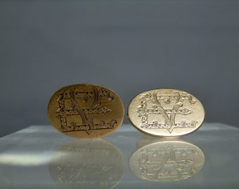 "Antique 10k Yellow Gold Monogram Cuff Links Beautifully marked ""EY"" 7.81 grams DanPickedMinerals"